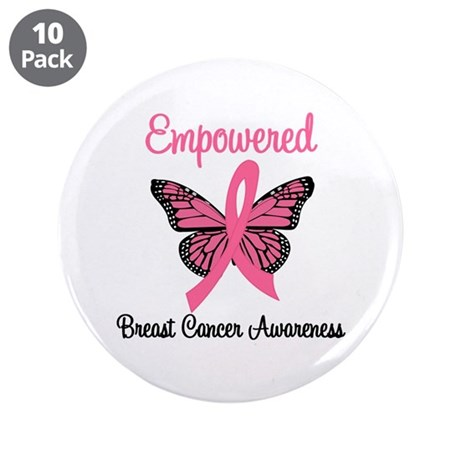 "Empowered (Breast Cancer) 3.5"" Button (10 pack)"