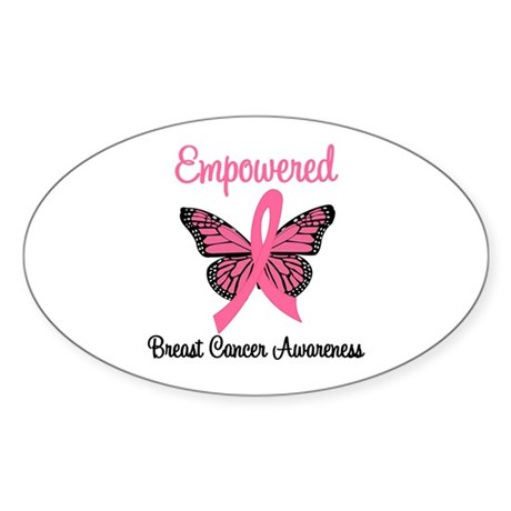 Empowered (Breast Cancer) Oval Sticker (10 pk)
