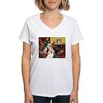 Santa's Samoyed Women's V-Neck T-Shirt
