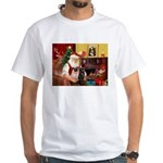 Santa's Two Pugs (P1) White T-Shirt