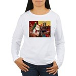 Santa's Two Pugs (P1) Women's Long Sleeve T-Shirt