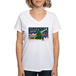 XmasMagic/Pomeranian (RW) Women's V-Neck T-Shirt