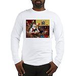 Santa's Pomeranian (bw) Long Sleeve T-Shirt