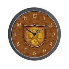 Copper Dragon Shield Wall Clock