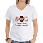 Peace Love Dental Hygiene Women's V-Neck T-Shirt