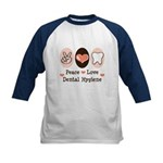 Peace Love Dental Hygiene Kids Baseball Jersey