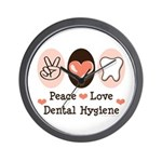 Peace Love Dental Hygiene Wall Clock
