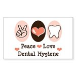 Peace Love Dental Hygiene Rectangle Sticker