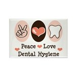 Peace Love Dental Hygiene Rectangle Magnet