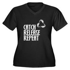 Catch Release Repeat Women's Plus Size V-Neck Dark