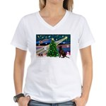 Xmas Magic & Choc Lab Women's V-Neck T-Shirt