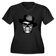 Gangster Skull Women's Plus Size V-Neck Dark T-Shi