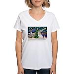XmasMagic/Gr Pyrenees Women's V-Neck T-Shirt