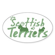 Pastel Green Scottie Oval Decal