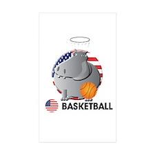 basket ball Rectangle Sticker 50 pk)