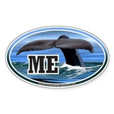 ME Maine Whale Tail Fluke Decal Oval Decal