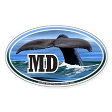 MD Maryland Whale Tail Fluke Decal Oval Decal