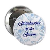 Grandmother of the Groom Blue Butterflies Button