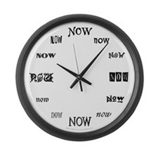 Now (B/W) Large Wall Clock