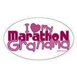 I Love My Marathon Grandma Oval Bumper Stickers