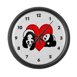 Panda Bear Love Large Wall Clock