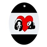 Panda Bear Love Ornament (Oval)