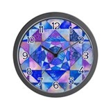 Blue Quilt Watercolor Wall Clock