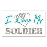 I Heart My Soldier Rectangle  Aufkleber