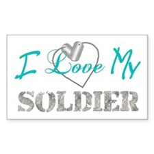 I Heart My Soldier Rectangle Decal