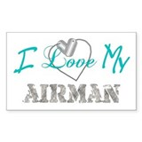I Heart My Airman Rectangle Decal