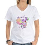 Baoding China Map Women's V-Neck T-Shirt