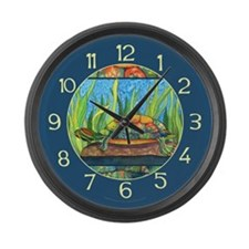 Tie Dye Turtle Watercolor Large Wall Clock
