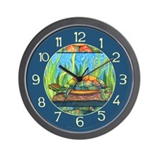 Tie Dye Turtle Watercolor Wall Clock