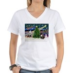 XmasMagic/French BD (br) Women's V-Neck T-Shirt