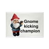 Gnome Kicking Champion Rectangle Magnet