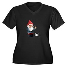 Lol Gnome Women's Plus Size V-Neck Dark T-Shirt