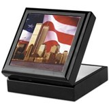 Trade Center And Flag Keepsake Box