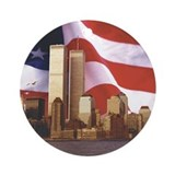 Flag and World Trade Center Ornament (Round)