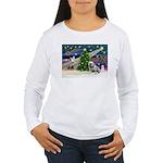 Xmas Magic & Bulldog Women's Long Sleeve T-Shirt