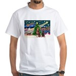XmasMagic/2 Dobies (P3) White T-Shirt