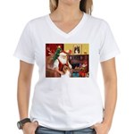 Santa's Collie Women's V-Neck T-Shirt