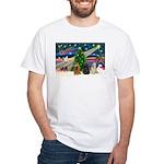 XmasMagic/3 Cockers White T-Shirt