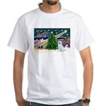 Xmas Magic & Akita White T-Shirt