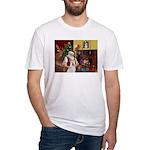Santa & Akita Fitted T-Shirt