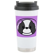 Anime BW Japanese Chin Ceramic Travel Mug