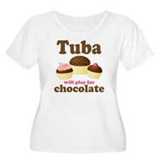 Funny Chocolate Tuba Women's Plus Size Scoop Neck