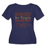 Saved by Grace Women's Plus Size Scoop Neck Dark T