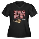 Throw Like a Girl Women's Plus Size V-Neck Dark T-