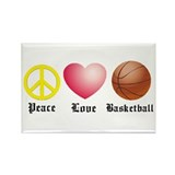 Peace, Love, Basketball Rectangle Magnet (100 pack