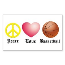 Peace, Love, Basketball Rectangle Decal